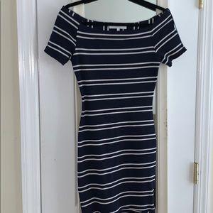NWOT ASTR Striped Off the Shoulder Dress